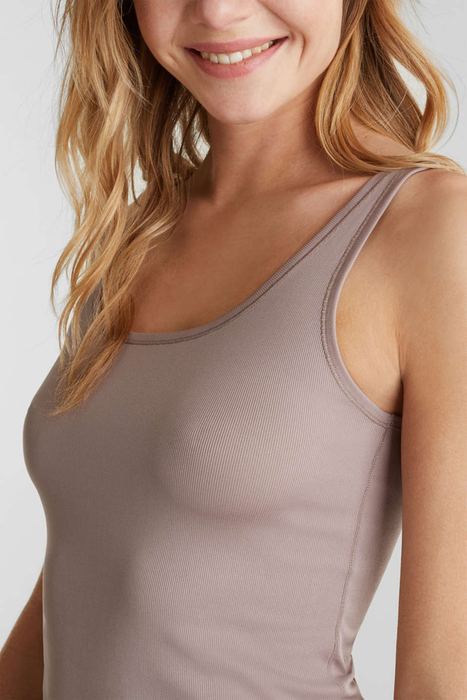 Top made of ribbed jersey, TAUPE, detail image number 2