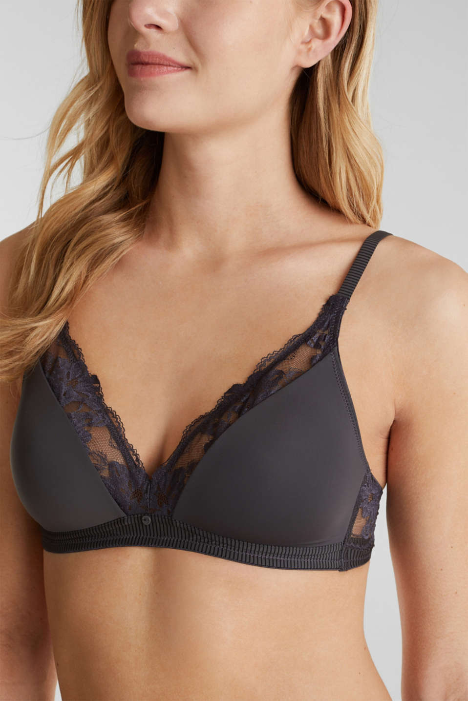 Padded, lace-trimmed bra, ANTHRACITE, detail image number 2