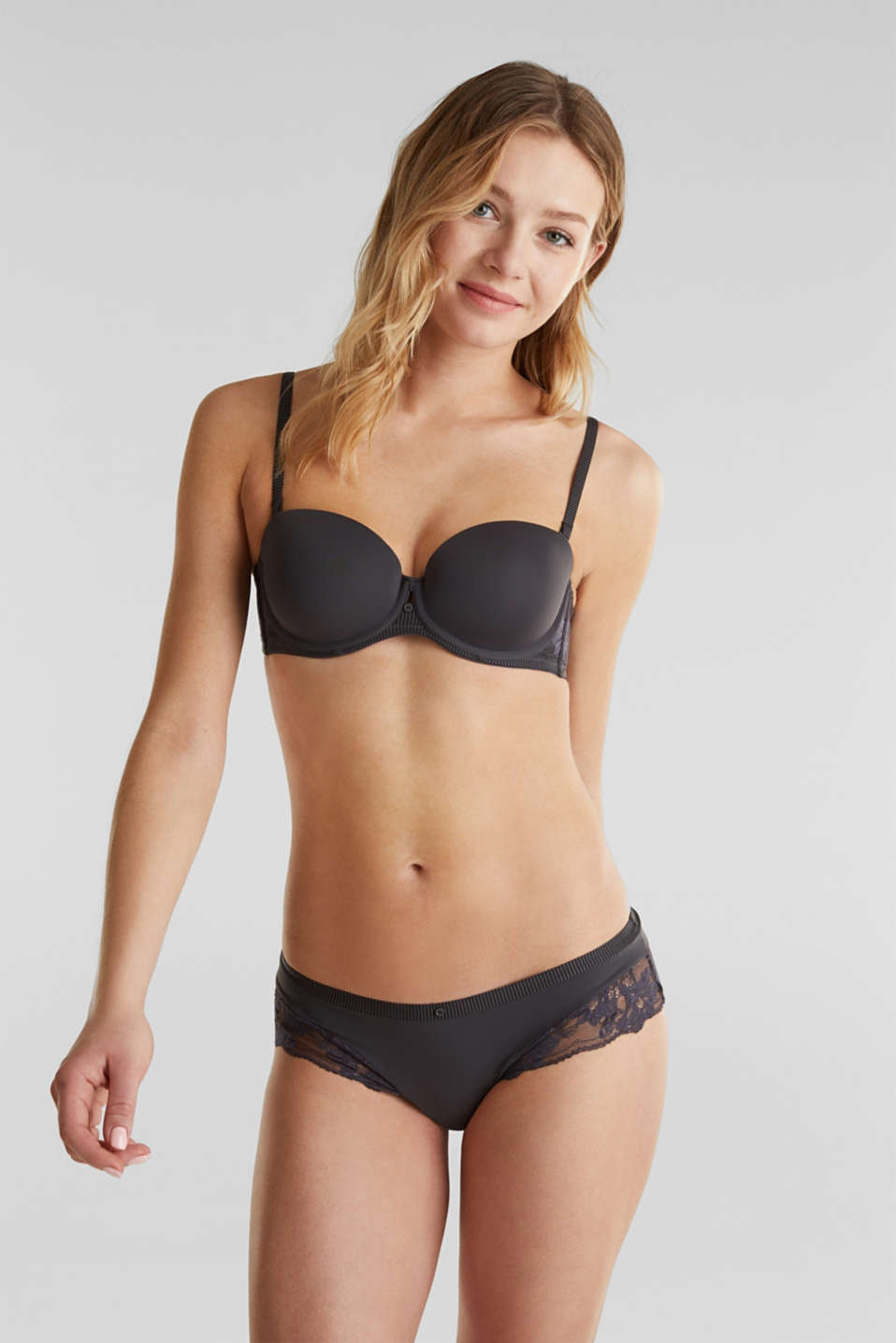 Underwire bra with detachable straps, ANTHRACITE, detail image number 0