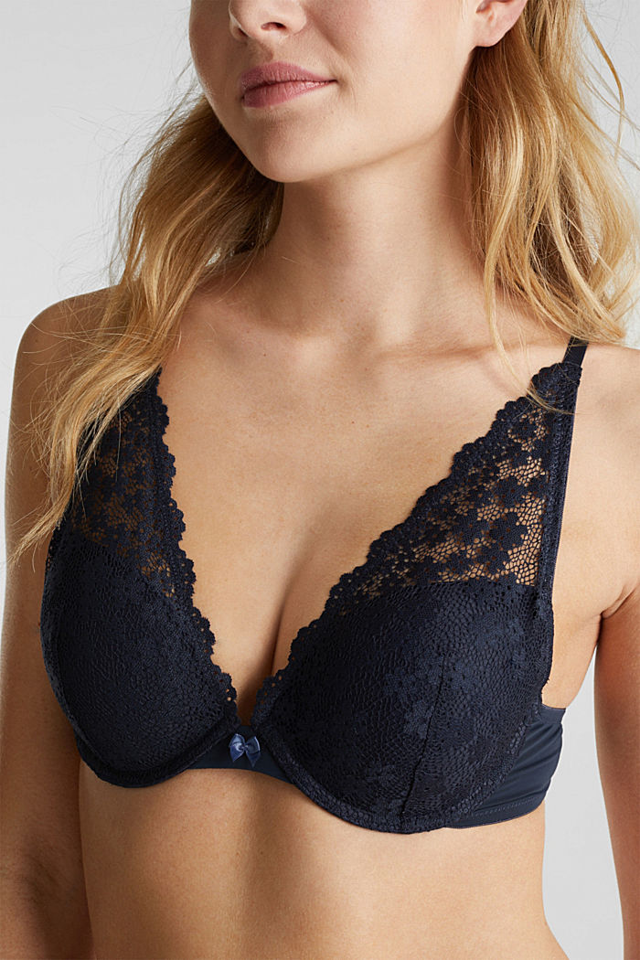 Push-up bra made of crocheted lace, NAVY, detail image number 2