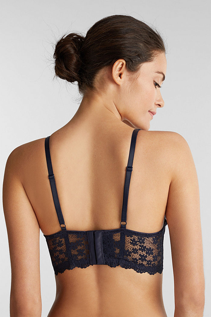 Padded underwire bodice made of lace, NAVY, detail image number 1