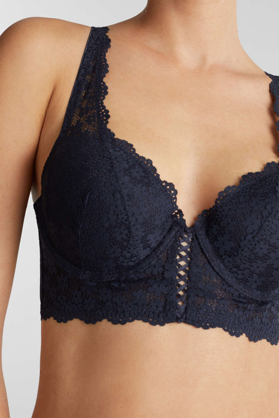 Padded underwire bodice made of lace, NAVY 2, detail image number 2