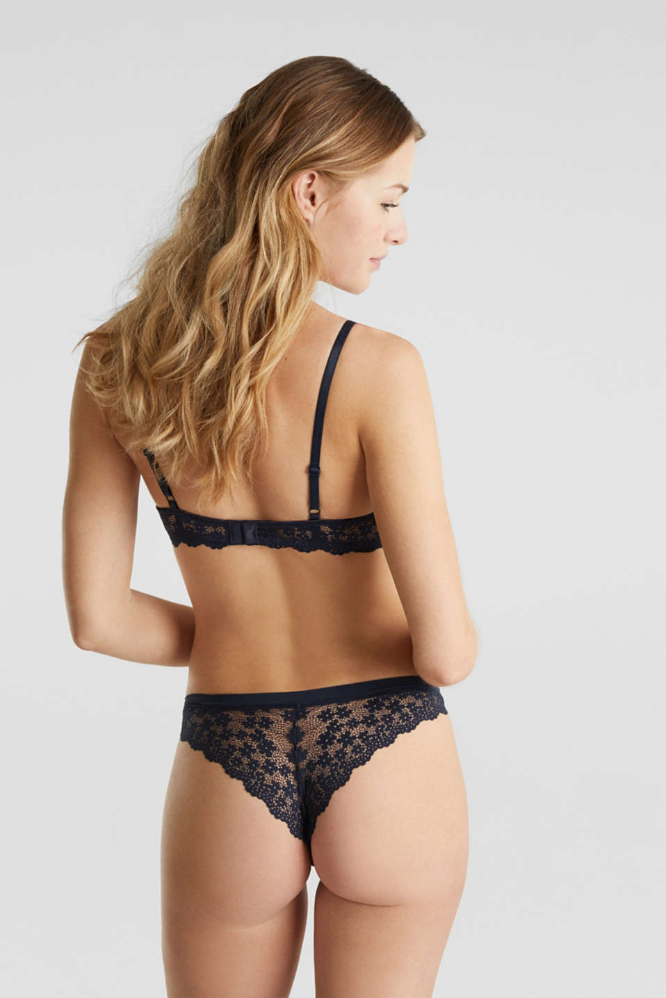 Unpadded underwire lace bra, NAVY 2, detail image number 1