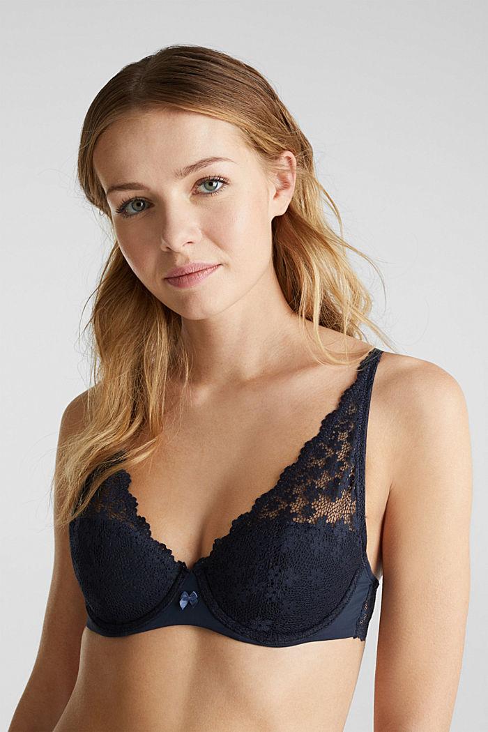 Unpadded underwire lace bra