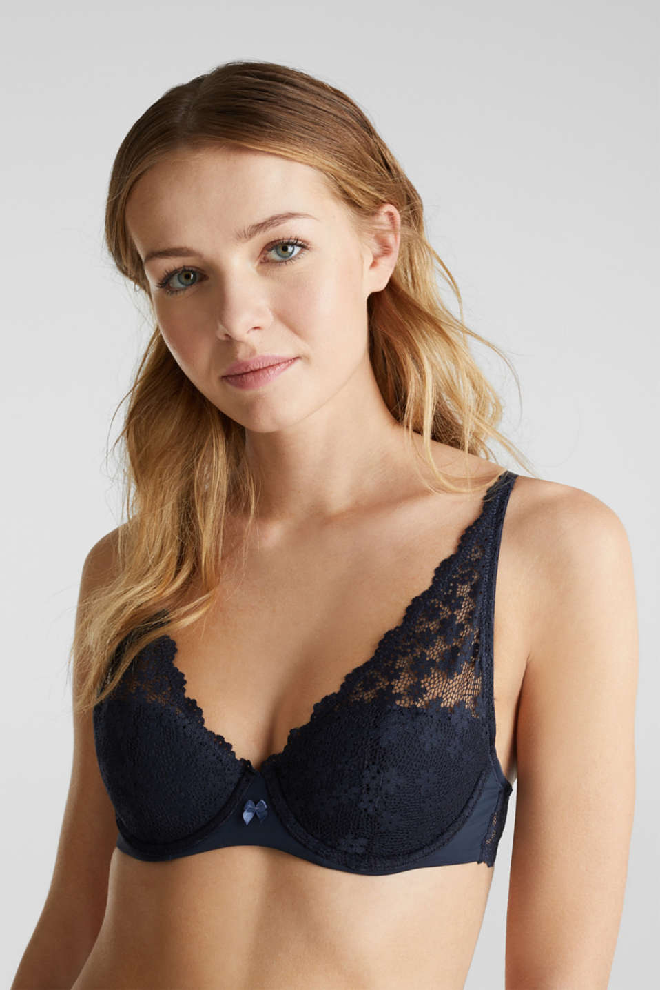 Unpadded underwire lace bra, NAVY 2, detail image number 3