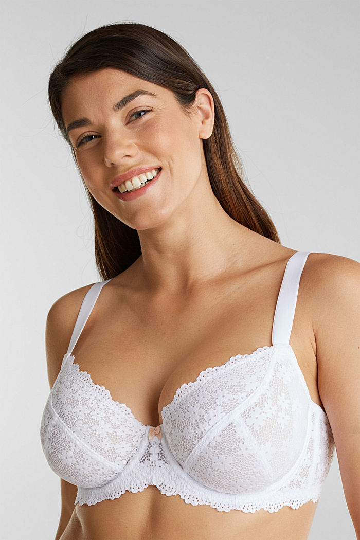 Unpadded underwire lace bra, WHITE, detail image number 0