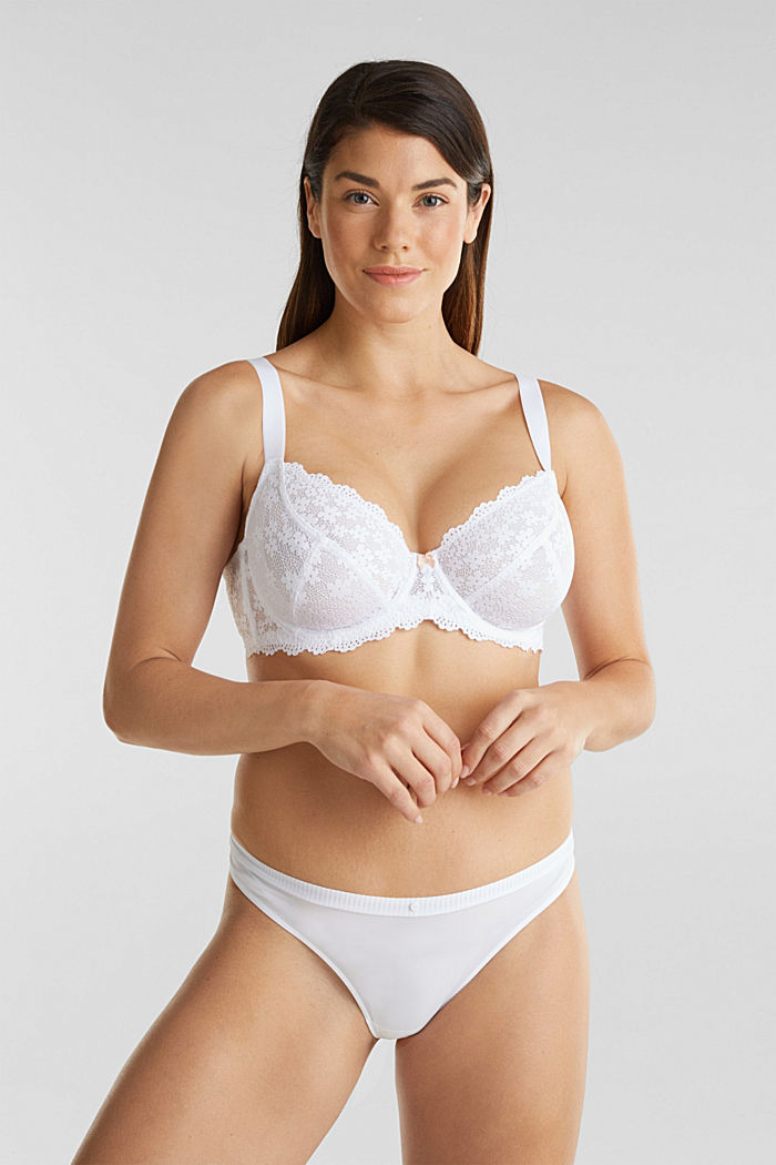 Unpadded underwire lace bra, WHITE, detail image number 2