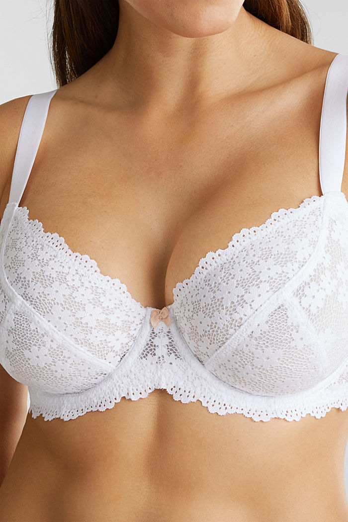 Unpadded underwire lace bra, WHITE, detail image number 3
