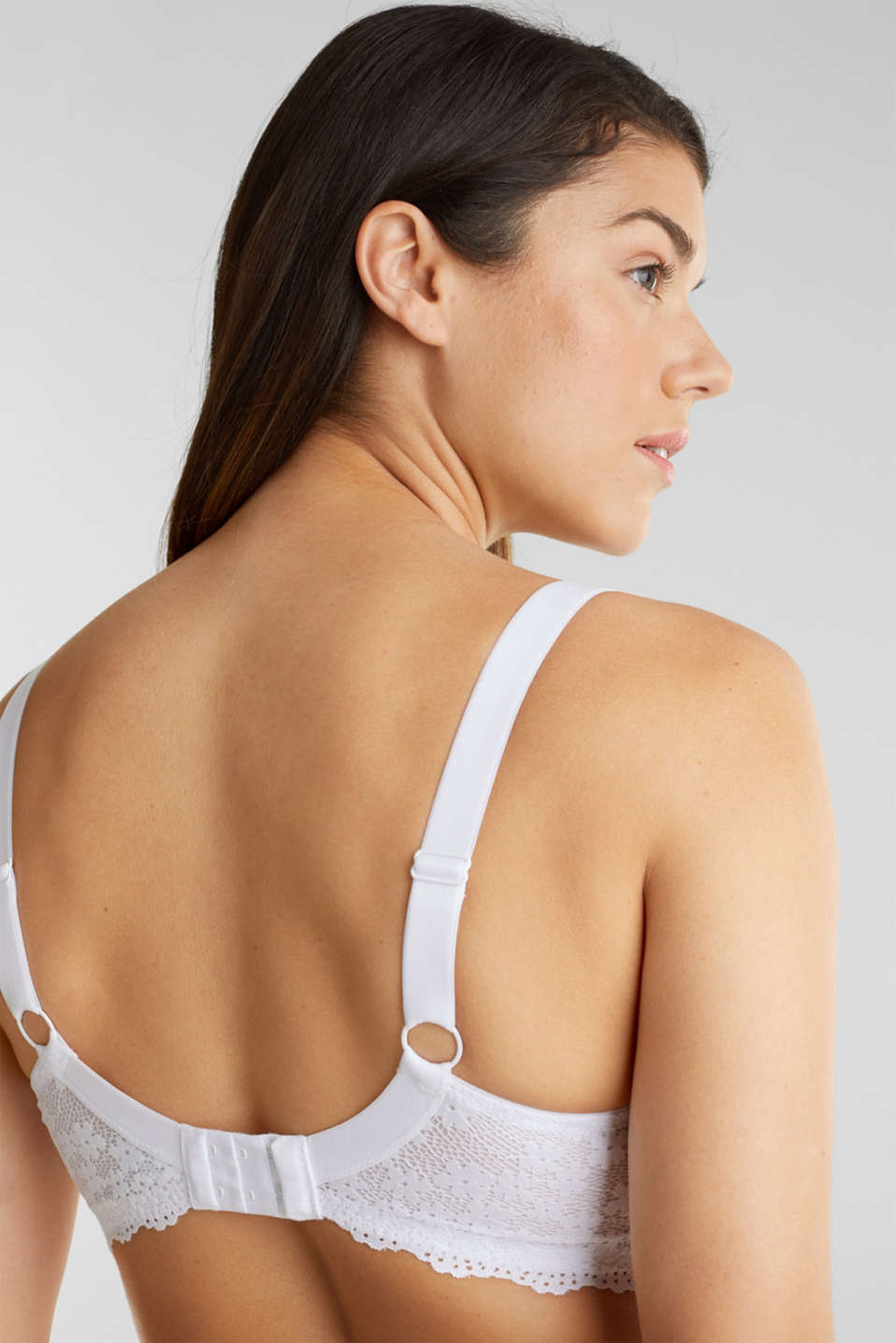Unpadded underwire lace bra, WHITE, detail image number 4