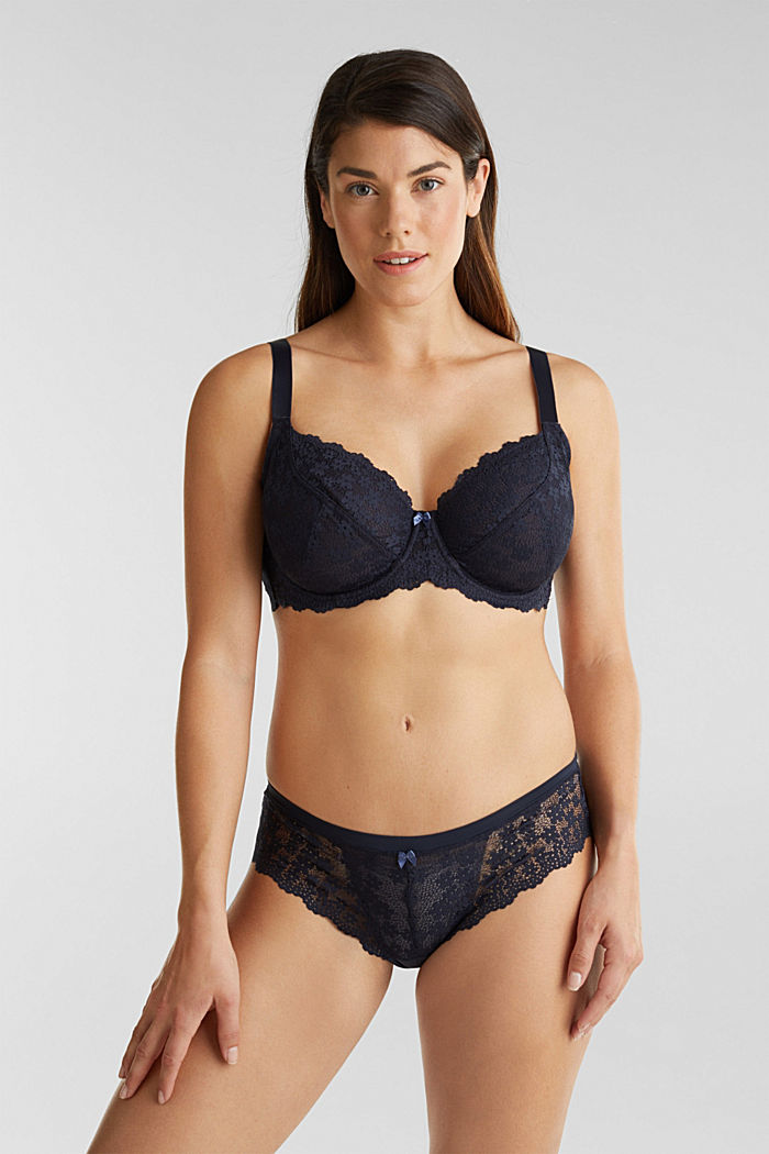 Unpadded underwire lace bra, NAVY, detail image number 0