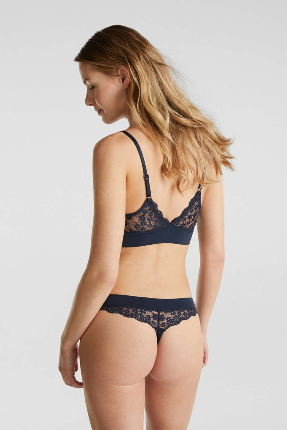 Padded wireless bra in lace, NAVY 2, detail image number 1