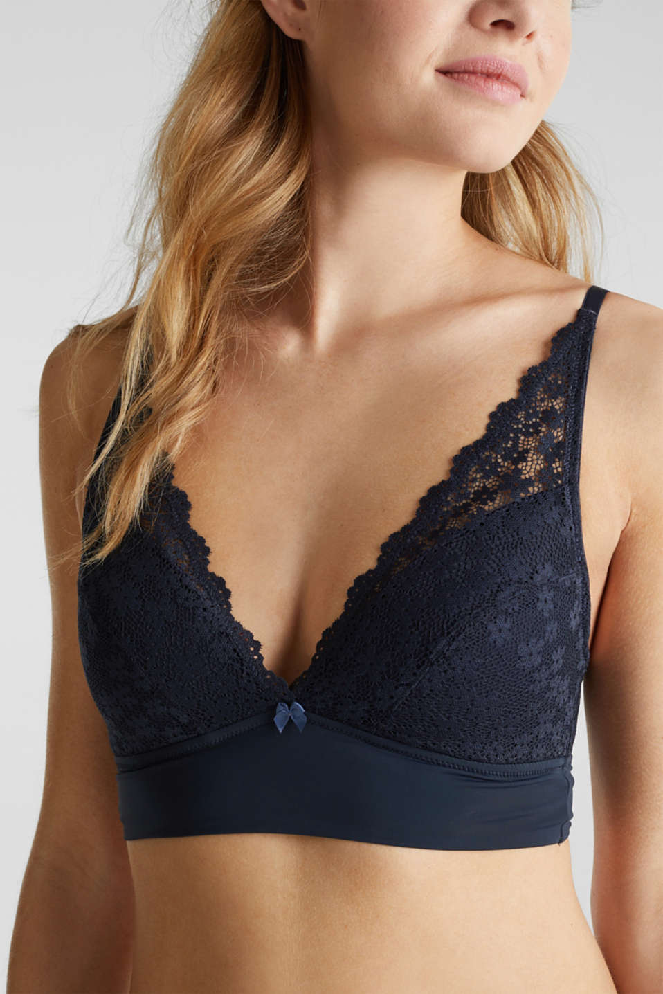 Padded wireless bra in lace, NAVY 2, detail image number 2