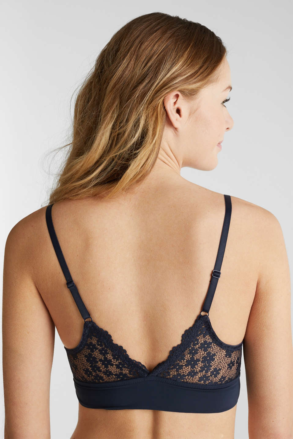 Padded wireless bra in lace, NAVY 2, detail image number 3