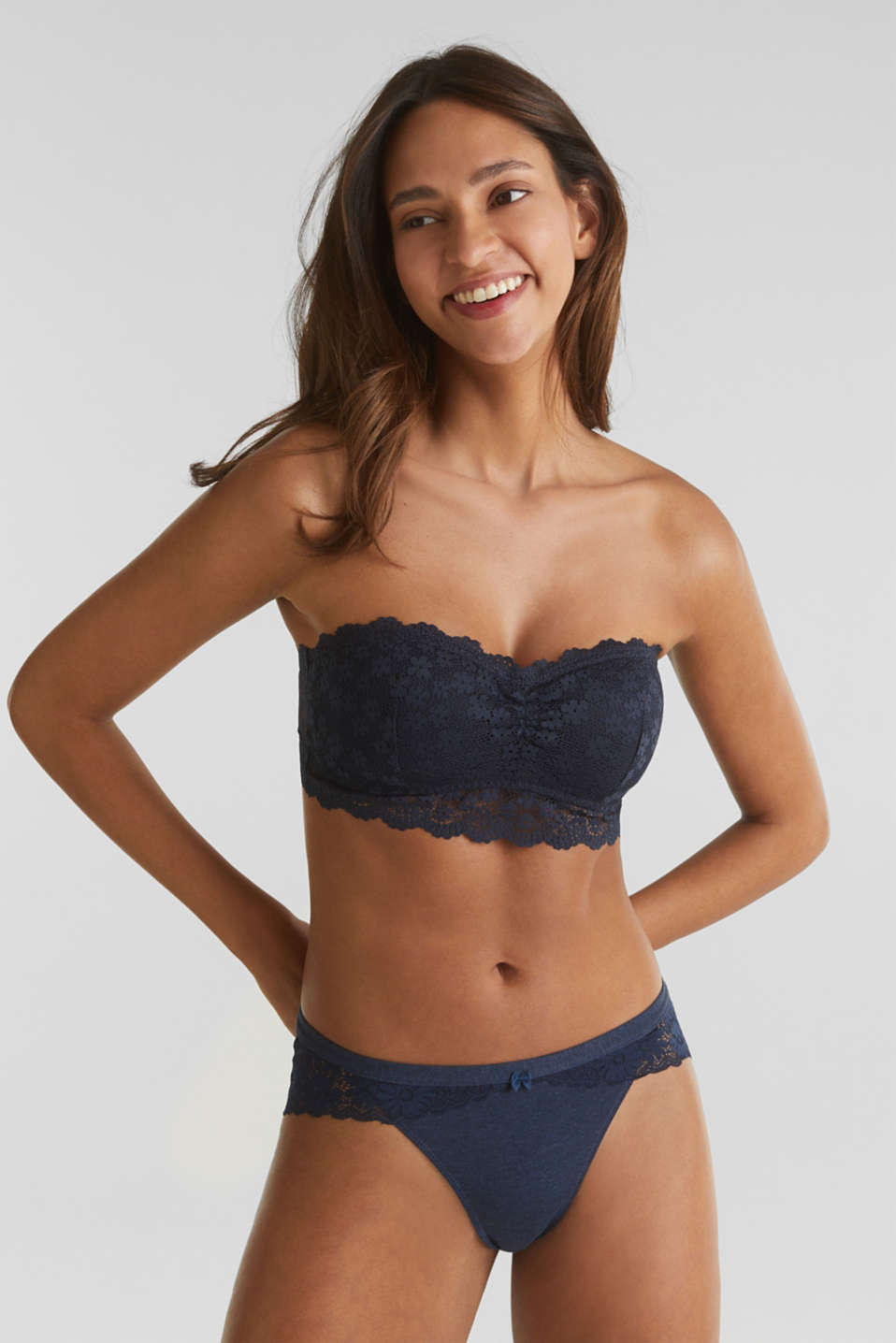 Padded bandeau bra made of lace, NAVY 2, detail image number 0