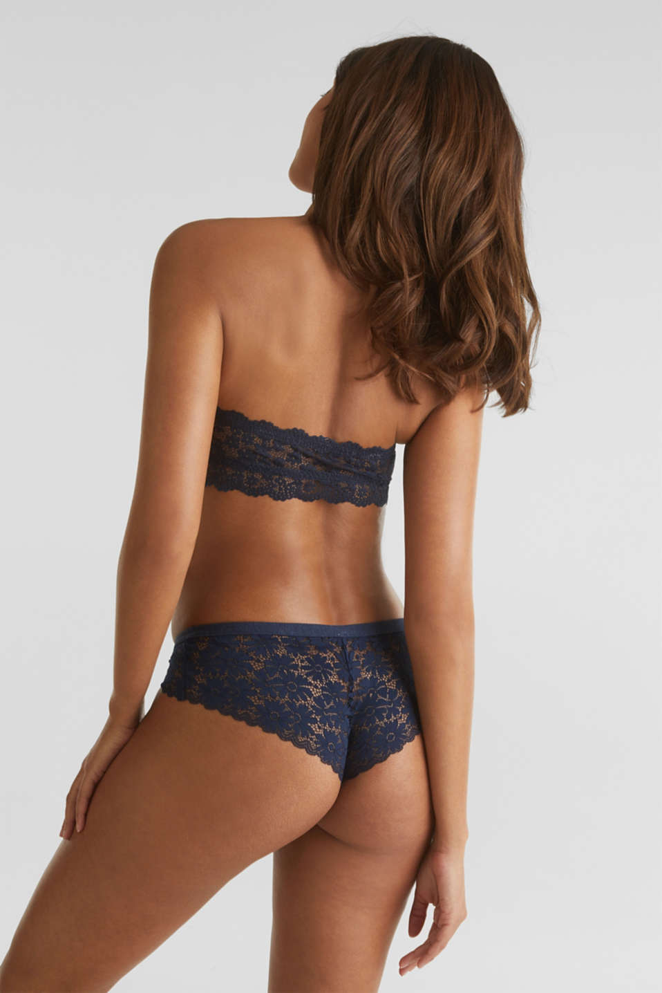 Padded bandeau bra made of lace, NAVY 2, detail image number 1