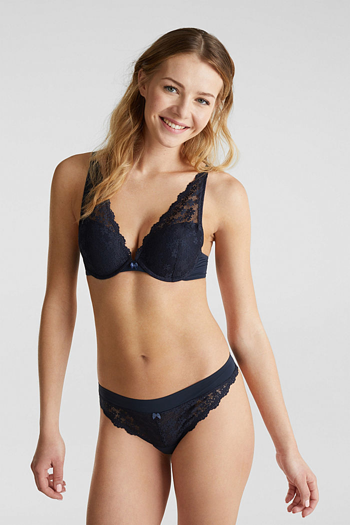 Hipster thong in crocheted lace, NAVY, detail image number 0