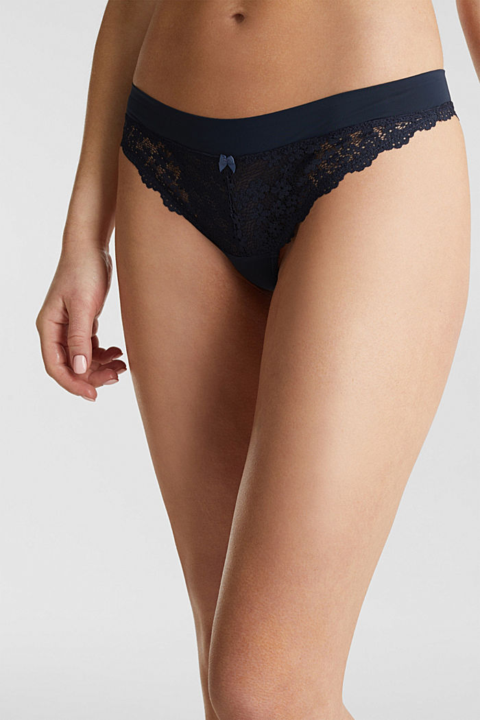 Hipster thong in crocheted lace, NAVY, detail image number 1