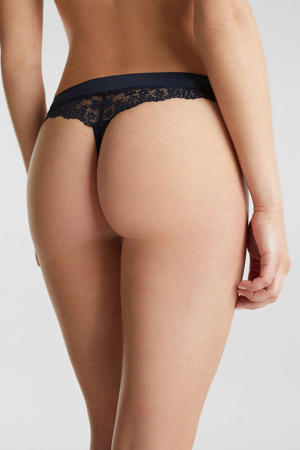 Hipster thong in crocheted lace, NAVY 2, detail image number 3