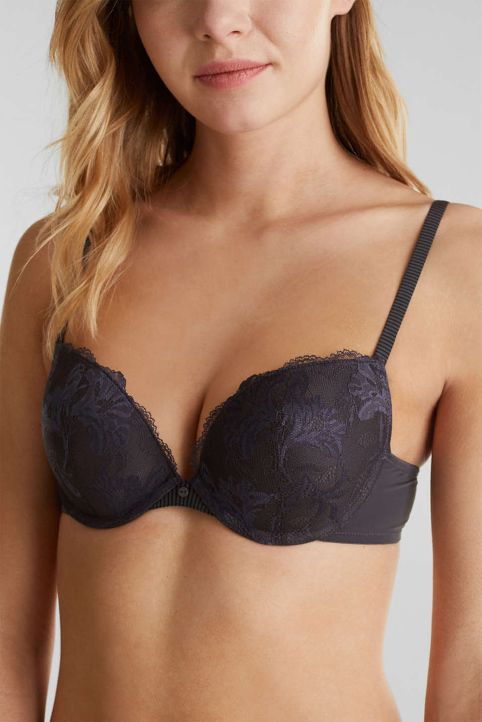 Push-up bra with lace and stripes, ANTHRACITE, detail image number 2