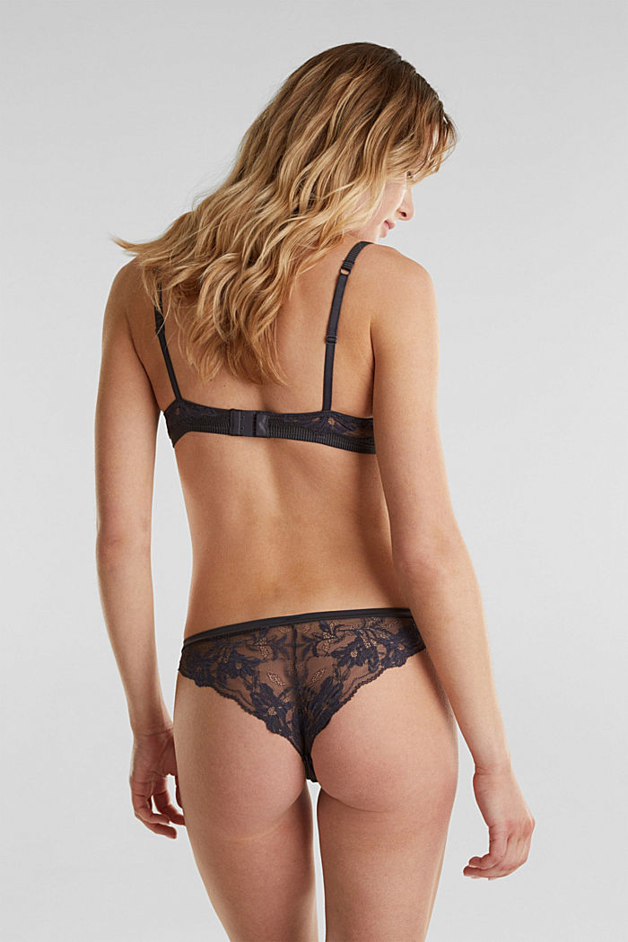 Padded underwire bra in lace, ANTHRACITE, detail image number 1