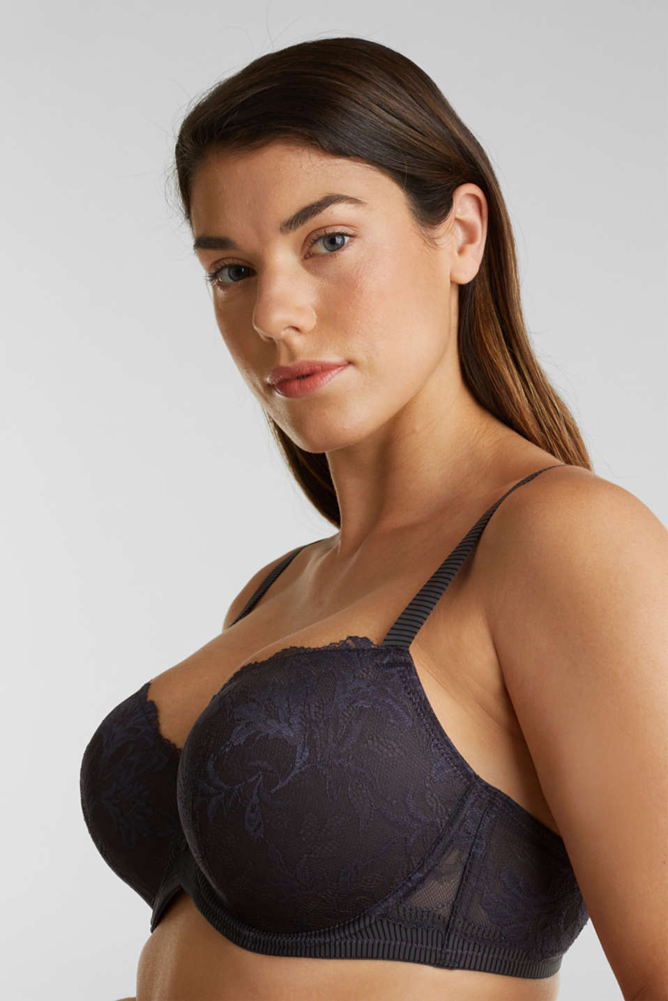 Padded underwire bra in two-tone lace, ANTHRACITE, detail image number 0