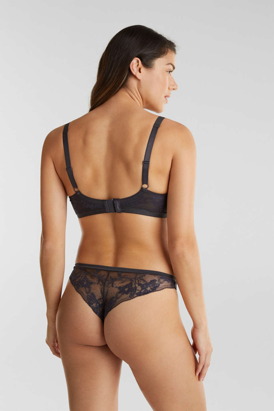 Padded underwire bra in two-tone lace, ANTHRACITE, detail image number 1