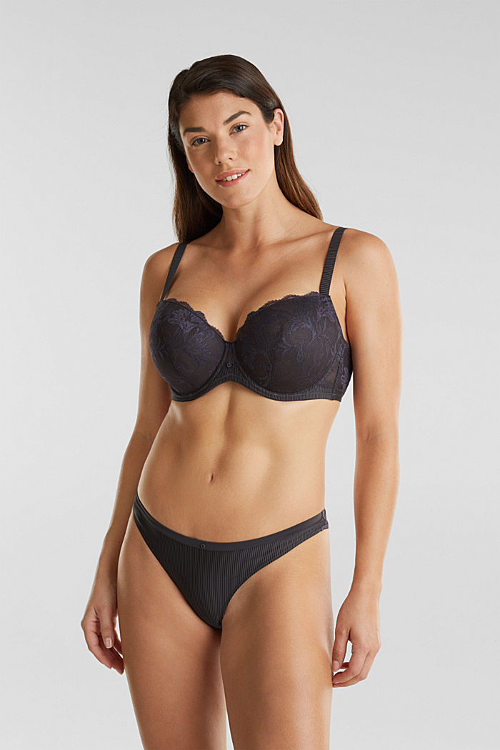 Padded underwire bra in two-tone lace, ANTHRACITE, detail image number 2
