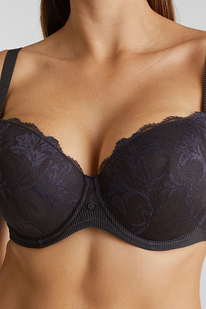 Padded underwire bra in two-tone lace, ANTHRACITE, detail image number 3