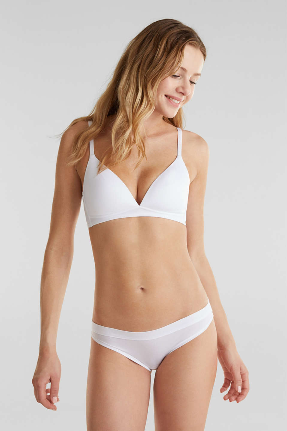 Non-wired bra made of ribbed jersey, WHITE, detail image number 0