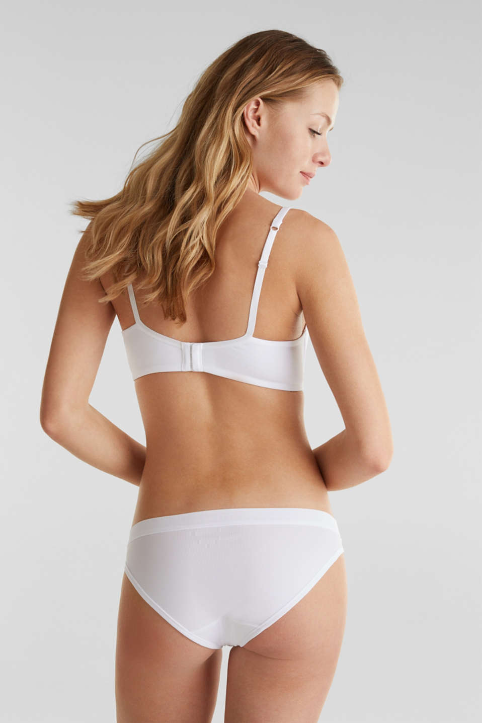 Non-wired bra made of ribbed jersey, WHITE, detail image number 1
