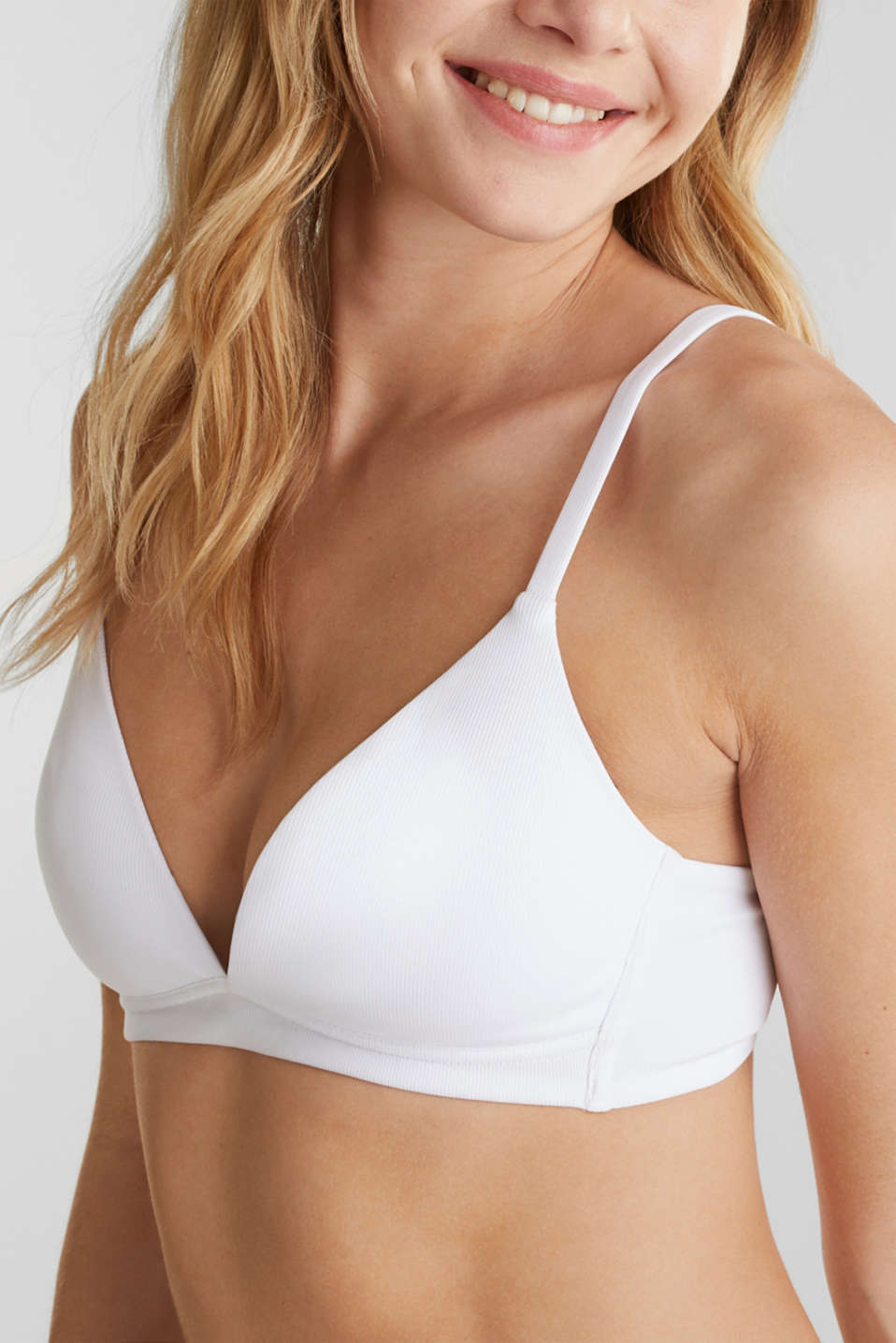 Non-wired bra made of ribbed jersey, WHITE, detail image number 2