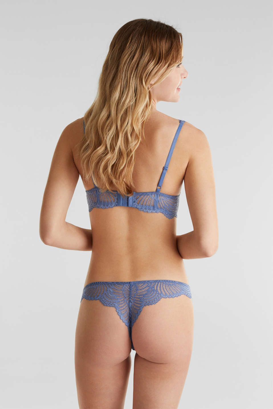 Padded underwire bra made of mesh/lace, BLUE LAVENDER, detail image number 1