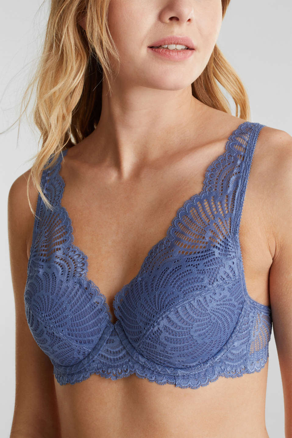Padded underwire bra made of mesh/lace, BLUE LAVENDER, detail image number 2