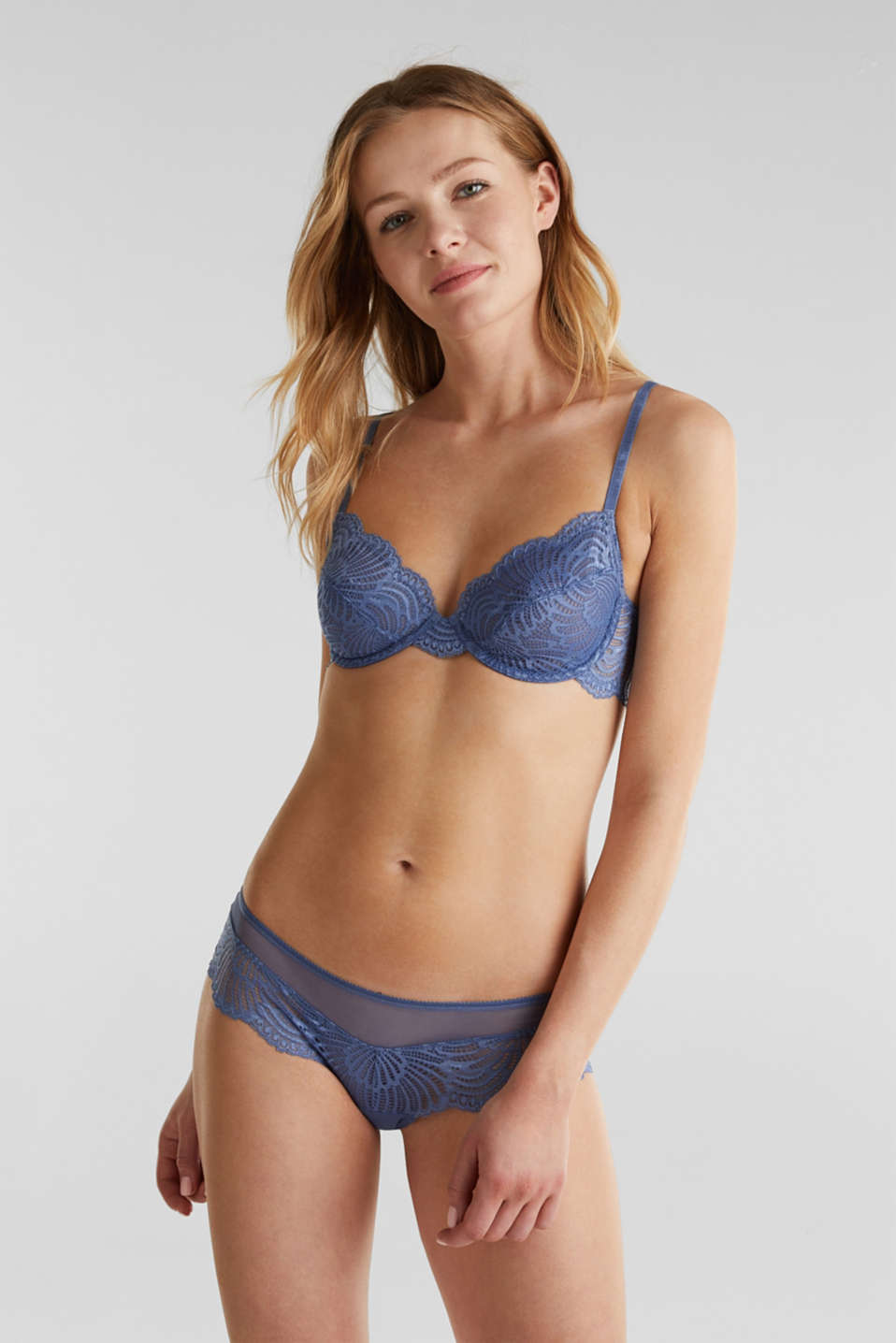 Unpadded underwire lace bra, BLUE LAVENDER, detail image number 0