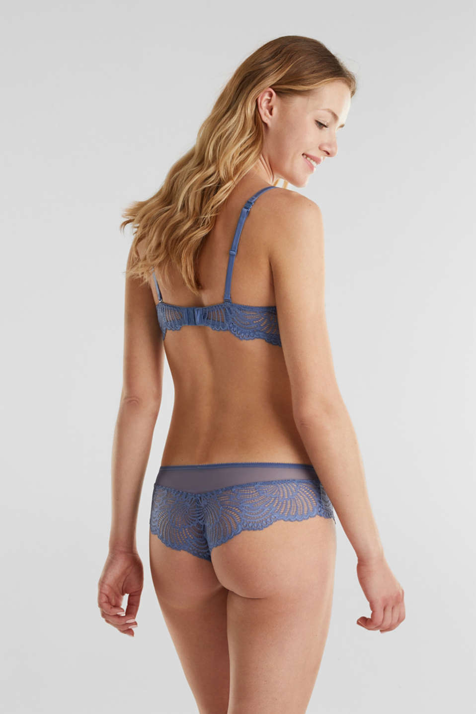 Unpadded underwire lace bra, BLUE LAVENDER, detail image number 1