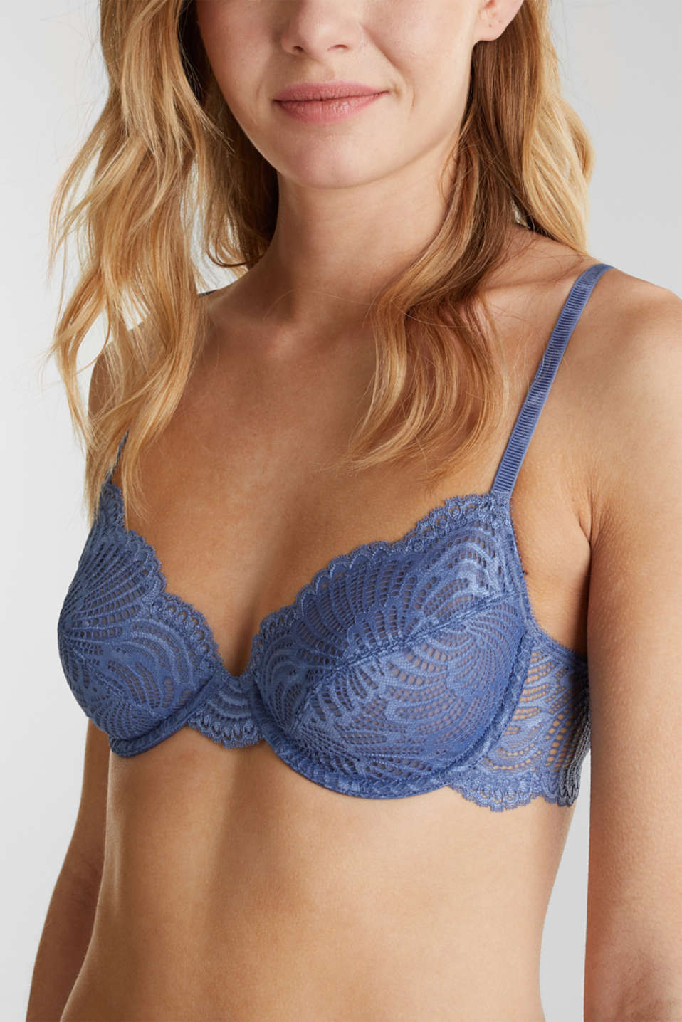Unpadded underwire lace bra, BLUE LAVENDER, detail image number 2