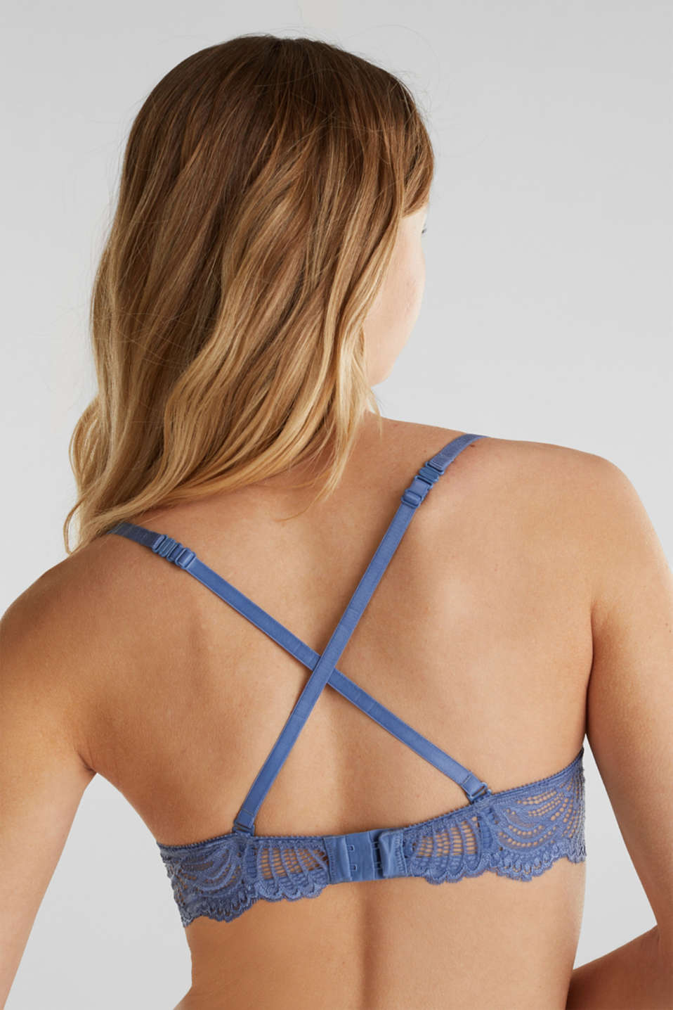 Unpadded underwire lace bra, BLUE LAVENDER, detail image number 3