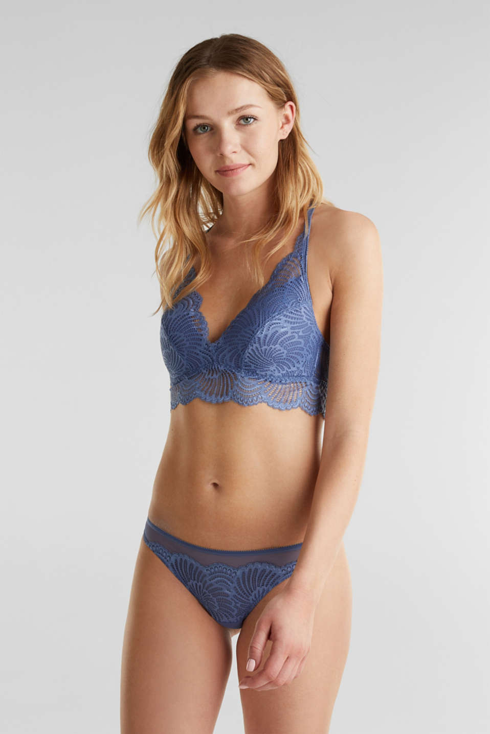 Padded wireless bra in lace, BLUE LAVENDER, detail image number 0