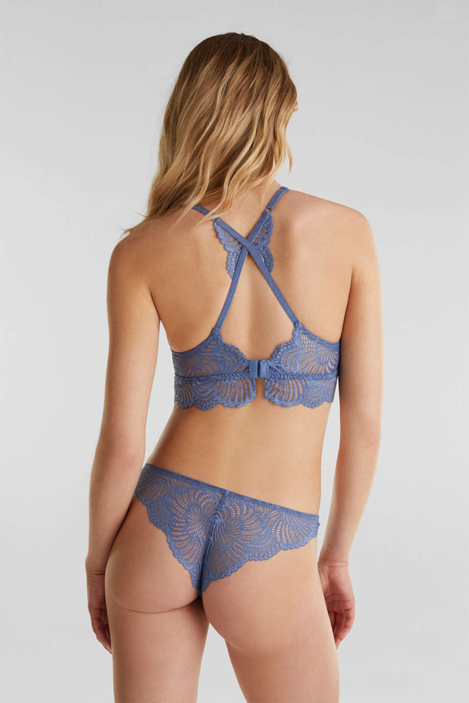 Padded wireless bra in lace, BLUE LAVENDER, detail image number 1