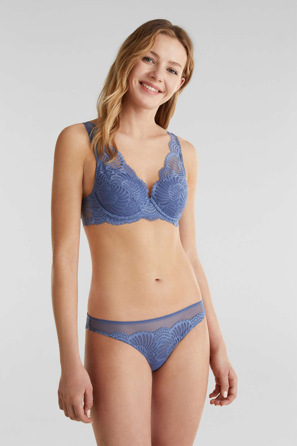 Lace hipster thong, BLUE LAVENDER, detail image number 0
