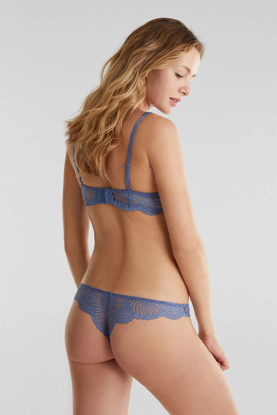 Lace hipster thong, BLUE LAVENDER, detail image number 2