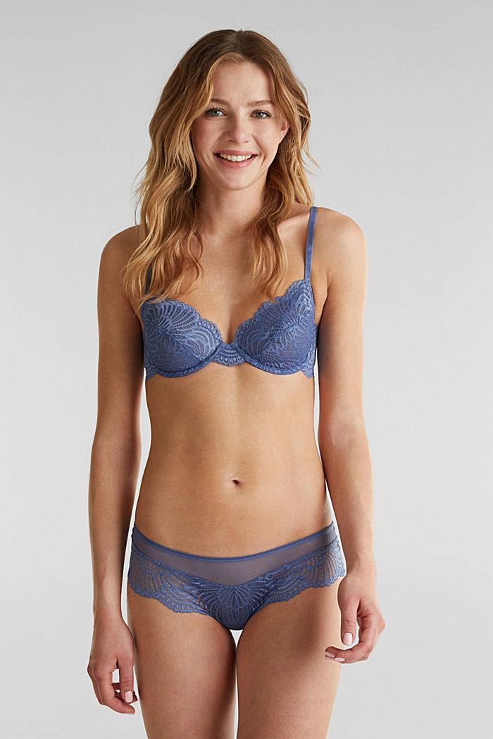 Hipster-Shorts aus Mesh und Spitze, BLUE LAVENDER, detail image number 0