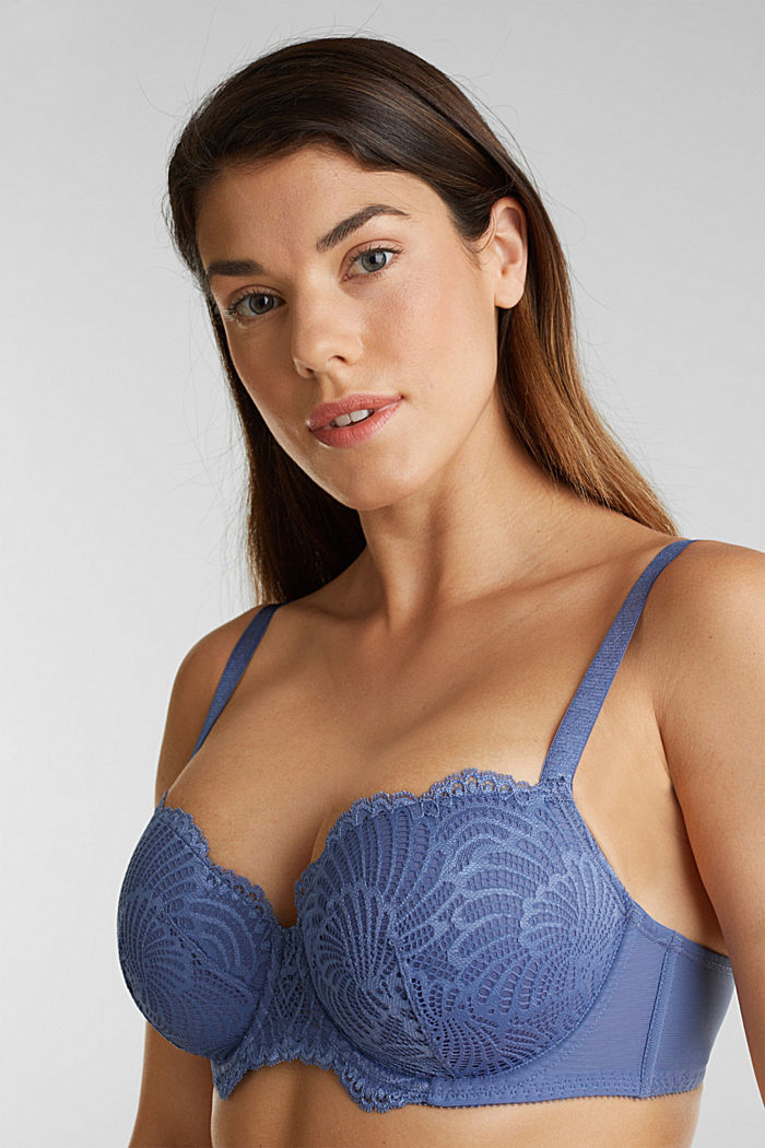 Padded underwire bra made of scalloped lace, BLUE LAVENDER, detail image number 0
