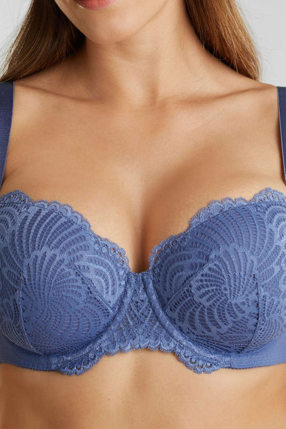 Padded underwire bra made of scalloped lace, BLUE LAVENDER, detail image number 3