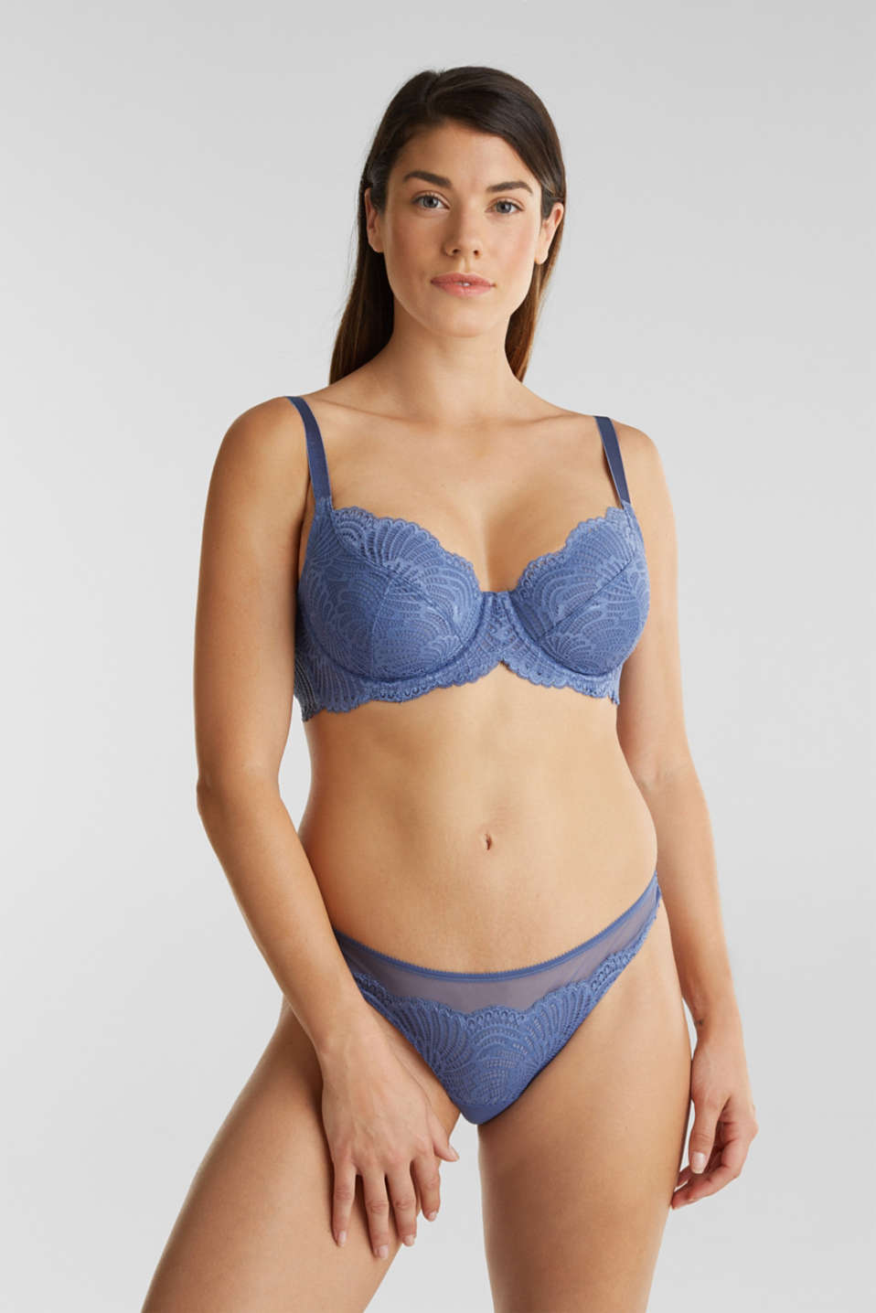 Unpadded underwire lace bra, BLUE LAVENDER, detail