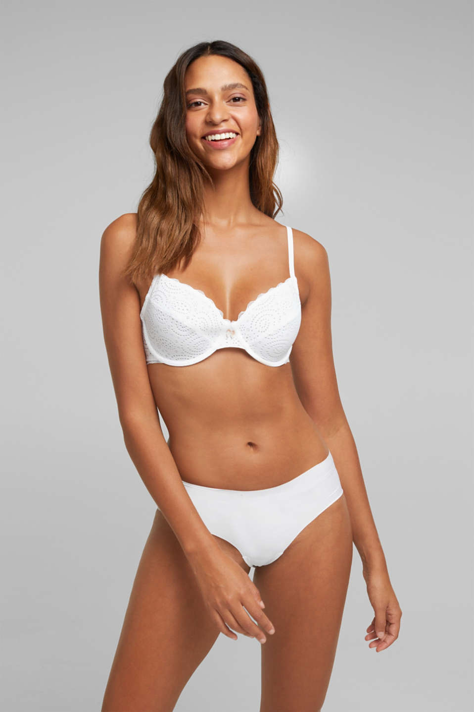 Broderie anglaise unpadded underwire bra, WHITE, detail image number 0