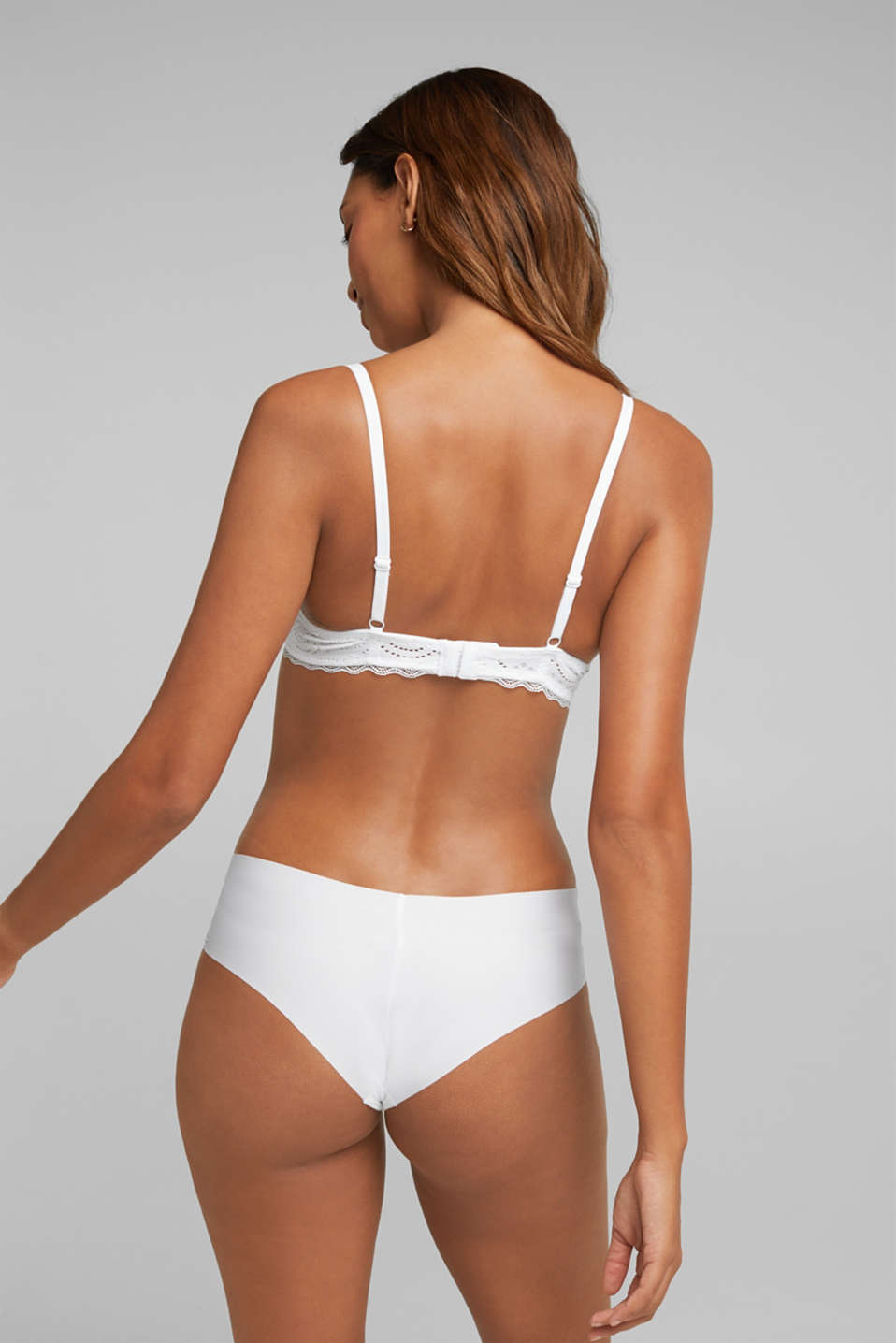 Broderie anglaise unpadded underwire bra, WHITE, detail image number 1