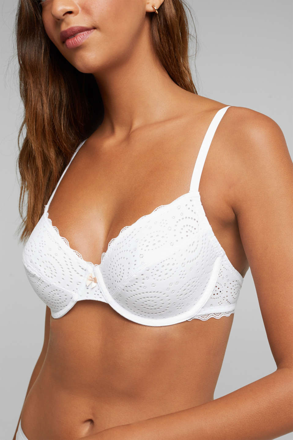 Broderie anglaise unpadded underwire bra, WHITE, detail image number 3