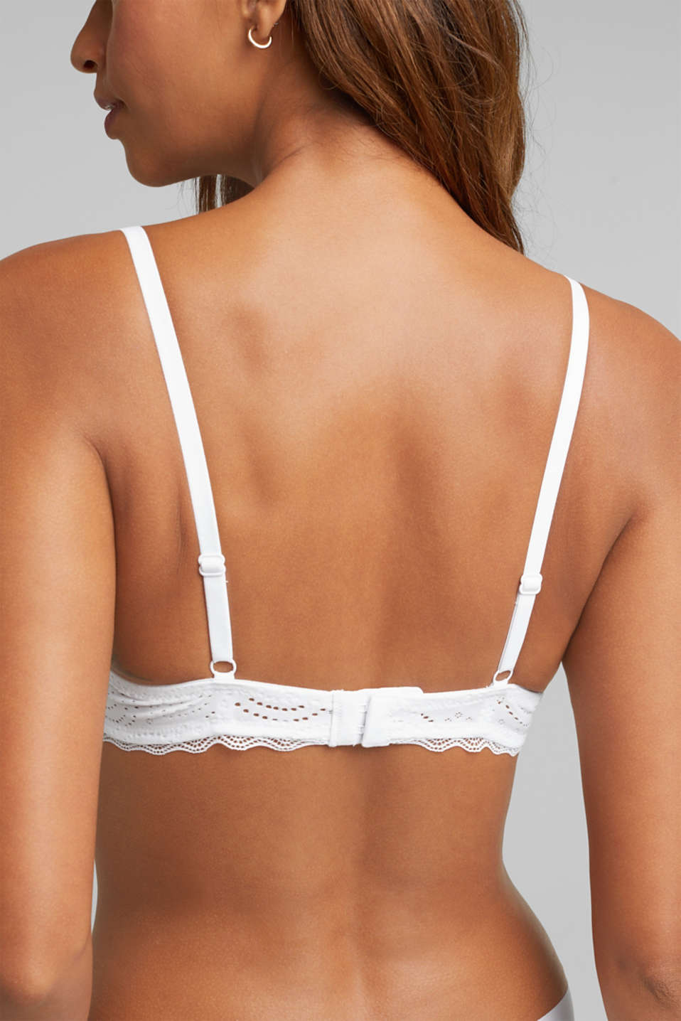 Broderie anglaise unpadded underwire bra, WHITE, detail image number 4