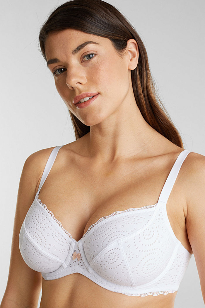 Underwire bra with a burnt-out pattern, WHITE, detail image number 0